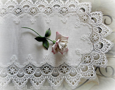DELICATE WHITE  Trim Lace Doily Table Runner  27