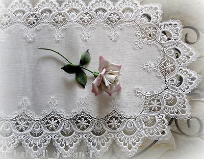 """DELICATE WHITE  Trim Lace Doily Table Runner  27"""" Estate Design"""