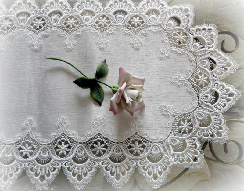 "DELICATE WHITE  Trim Lace Doily Table Runner  27"" Estate Design"