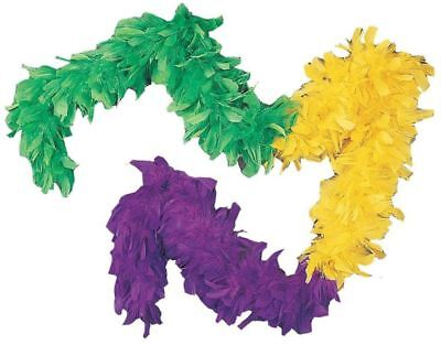 Mardi Gras Feather Boa Purple Green Yellow Colors Multi-Color 55GM 6 ft 72