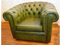 Chesterfield green armchair vintage chairs leather antique lounge club tub vintage seating castors
