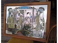 Rare 1970's Art Nouveau Large Four Seasons Mirror ~ Retro Antique (Teak Ladderax staples modular)