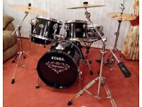 Tama Imperialstar Black Drum Kit Shell Pack and Hardware Set (Cymbal Stands) - Upgraded Heads/Skins