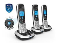 NEW! BT2600 Cordless DECT Phone with Answer Machine - Black/Silver, Pack of 3