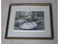 """Antique Framed 1891 Hand engraved & coloured print by William Strutt """"The Milky Way"""" of Cat & Mouse"""
