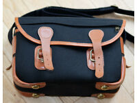 BILLINGHAM camera bag in black, trimmed in tan leather POST PAID