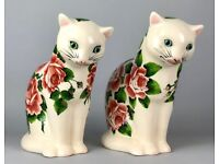 GRISELDA HILL POTTERY, WEMYSS -CABBAGE ROSE CATS- LARGE SEATED GALLE FIGURE PAIR