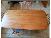 Vintage Ercol Elm Plank Dining Table & Chairs