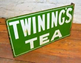Twinings tea enamel sign early advertising mancave garage metal vintage retro kitchen antique