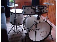 Mapex Horizon Drum Kit.. Short Stack ... Glacier White with Black Drum Hardware & Cymbals