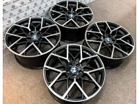 "BRAND NEW 20"" BMW MPERFORMANCE STYLE ALLOY WHEELS - 5 X 120 - GLOSS BLACK DIAMOND CUT FINISH"