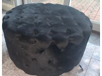 Pouffe Footstool Crushed Velvet Black