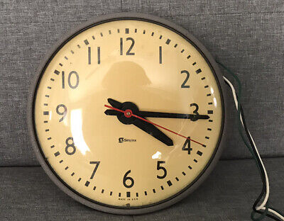 """VINTAGE SIMPLEX 10"""" Round Glass Dome Metal Base School Industrial Wall Clock"""