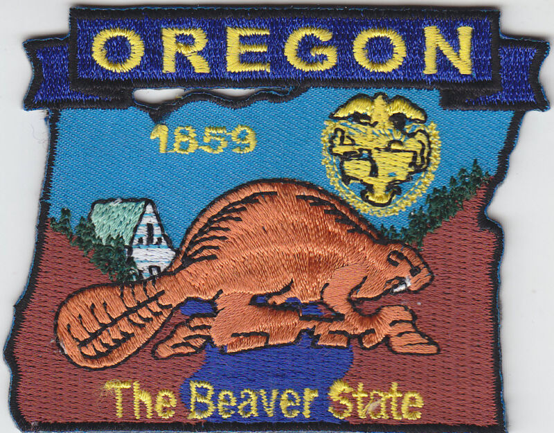 Oregon OR map patch THE BEAVER STATE shaped 1859