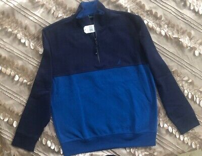 Nautica Mens Long Sleeve Quarter-Zip Sweater Fleece Warm Size XL Navy+Blue$79.50