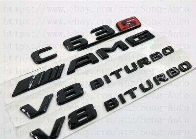 MERCEDES BENZ C-CLASS GLOSS BLACK SET AMG C63 S+V8BITURBO BADGES EMBLEMS STICKER