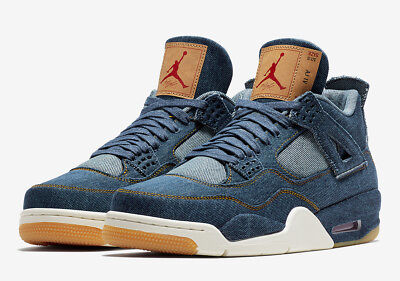 Nike Air Jordan Retro 4 Levi's NRG Blue Denim Sail Red Lot Size 10 AO2571 401
