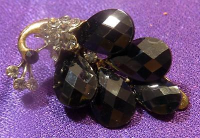 """Vintage 1-5/8""""  Scarf Clip Black Pear Shaped faceted Glass [j70-56]"""