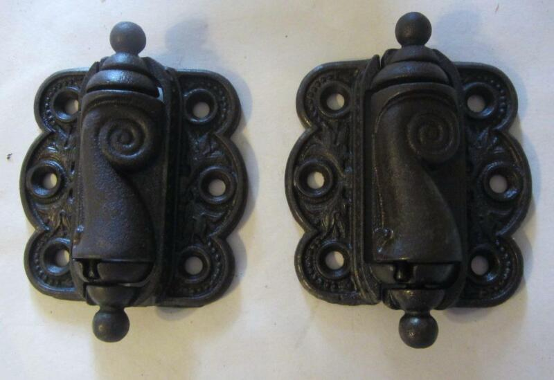 1 Pair Of Antique Cast Iron Screen Door Hinges Spring Loaded