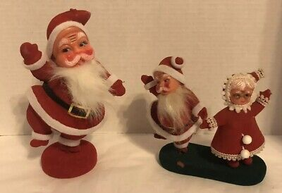 Vintage Mr and Mrs Santa Claus Flocked Fuzzy Christmas Figures & Santa Clause (Mr And Mrs Santa Clause)