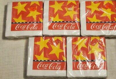 Vintage 1988 Coca cola Napkins Lot X5 Factory sealed