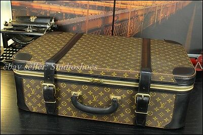"LOUIS VUITTON 27"" Rare Custom Black Carry On Suitcase Duffle Mens Pilot Case Bag"
