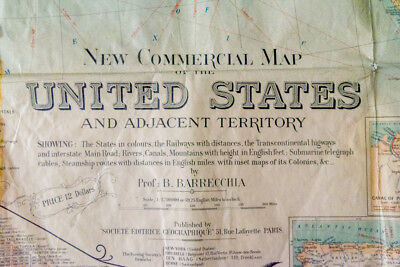 Rare - 1925 - New Commercial Map of the United States - Map USA