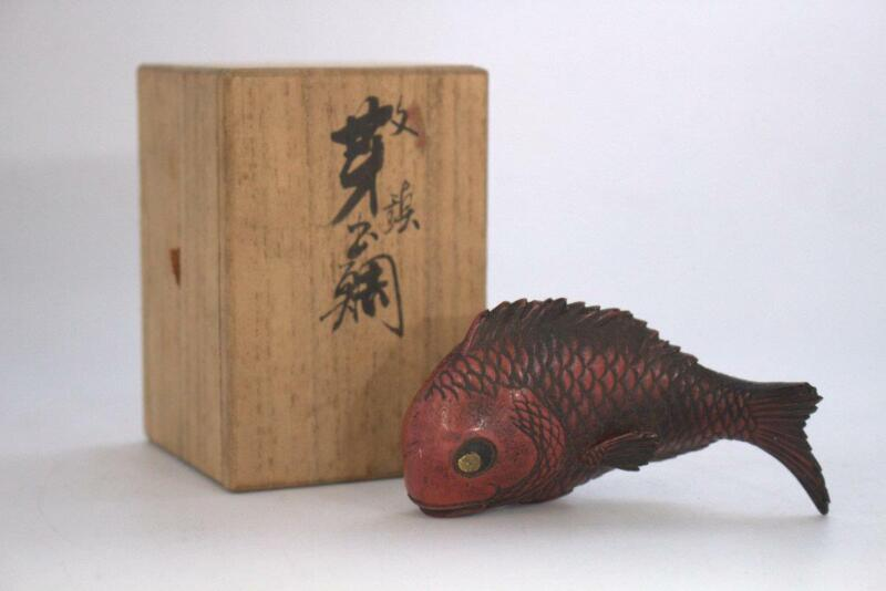 Japanese old Copper Fish Red snapper splendid alfonsino ornament paperweight