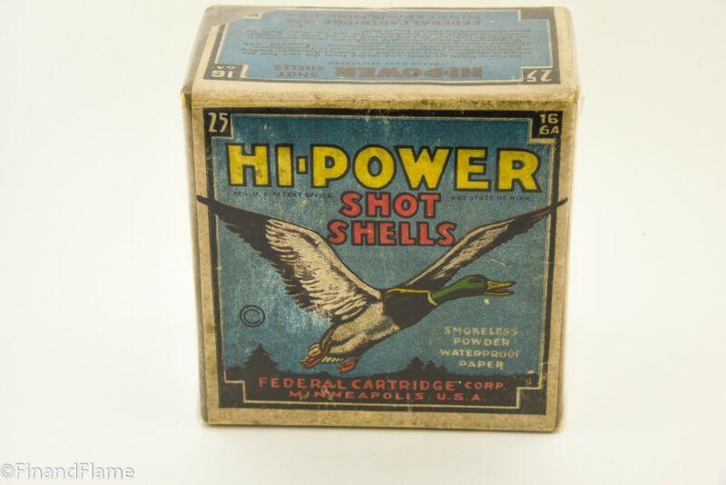 Vintage Scarce Federal Cartridge Co 16 GA Hi Power Shotgun Shell Box GH560