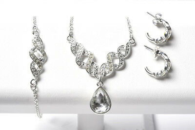 AVON Pave Twist 3 Piece CZ Dangle Pear Necklace Bracelet Hoop Earrings Set  NIB