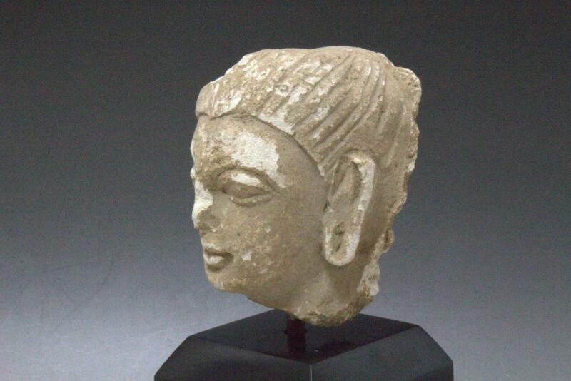 VG154 Kushans Gandhara Statue Head Carved Stucco Ornament Buddhist Buddha 300 AD