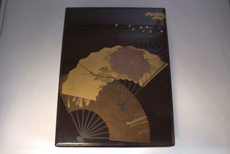 Japanese Antique wooden Gold Makie box flower Design Nashiji w / box WBX59