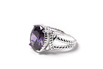 - AVON Bold Purple CZ 5 Ct. Oval Twisted Sterling Silver Band Sz 9 Ring BRAND NEW