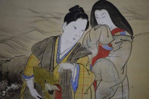 JAPANESE PAINTING Hanging Scroll KAKEJIKU Spring farm Takasago of old paintings