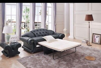 (Versace Luxury Button Tufted Black Italian Leather Pull Out Sleeper Sofa Bed)