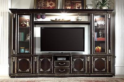 Mcferran E5188 Gold Ebony Finish Lighted Tv Entertainment Center Wall Unit
