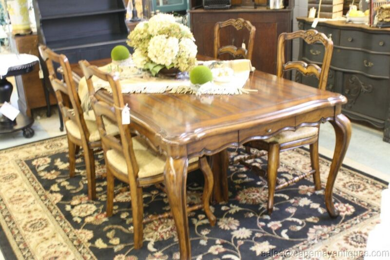 "French Dining Room Table With 4 Rush Seat Chairs Carved Floral Plank Top 78"" L"