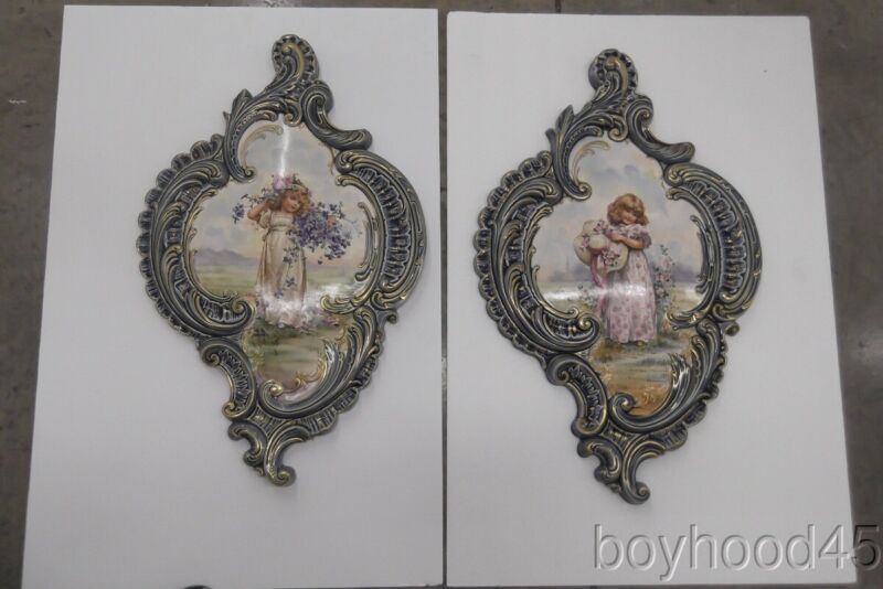 SPECTACULAR PAIR OF HAND PAINTED PORCELAIN WALL PLAQUES---FABULOUS!!
