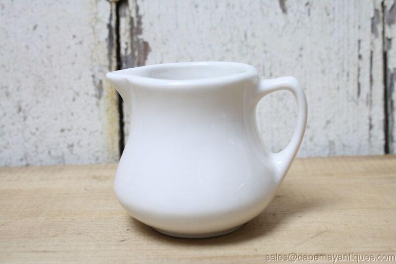 White Small Pitcher Creamer USA Buffalo Pottery Bright White Vintage