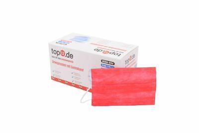 Kinder Mund-Nasen-Schutz Einweg 50er Set/ Gesichtsmasken Typ II ohne Draht, Rot