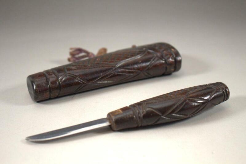 AIN44 Japanese Ainu wooden Makiri engraving knife Sword