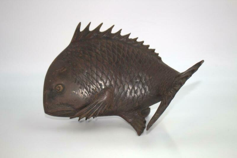 Japanese vintage Iron Sea bream ornament Figurine okimono BOS295