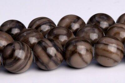 8MM Natural Coffee Brown Swirl Jasper Grade AAA Round Gemstone Loose Beads 15