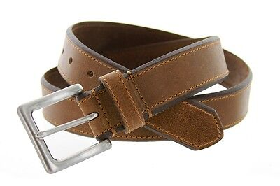 Leather Jean Casual Belt - Mens Genuine Solid Leather Stylish Beveled Casual Jean Belt 1-3/8