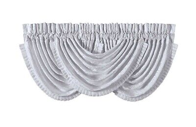 """J Queen New York Chantilly Waterfall Valance 42 W x 33 L White 3"""" Rod Pocket"""