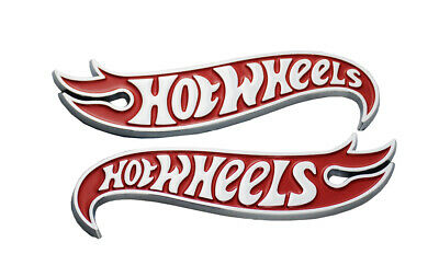 Pair HotWheels Edition Deck Lid Emblem Badge Chevy Camaro Chrome Red