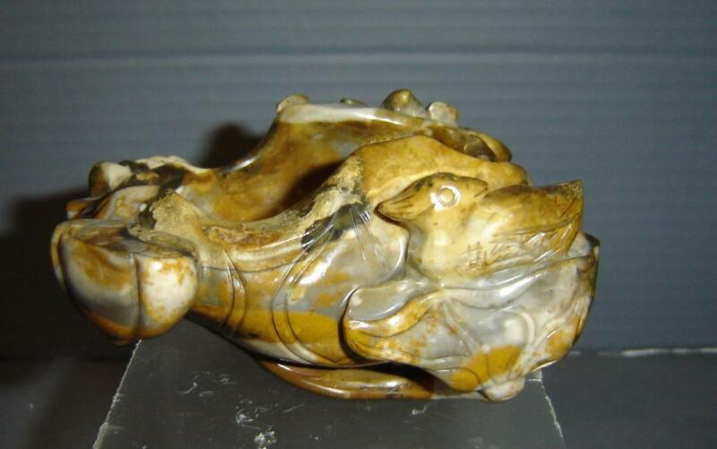 Antique Chinese Qing Carved Agate Duck In Lotus Pond Agate Brush Washer Pot.