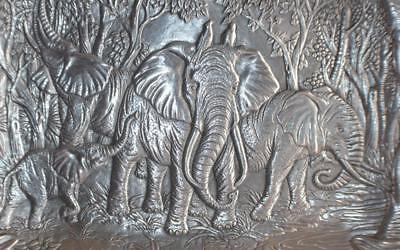 "1987 ARTHUR COURT ELEPHANT SAFARI 19"" X 14"" SERVING TRAY"