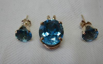 Blue Topaz Earrings Pendant Necklace 14K Gold Set Parure Estate Jewelry Gorgeous