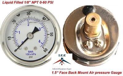 Liquid Filled 1.5 Face 0-60 Psi Air Pressure Gauge Back Mount 18 Npt